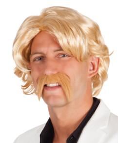 perruque blone avec moustache style années 80 pour deguisement astérix et ringard