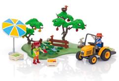 pack de jouets playmobil country 6870 avec 2 figurines agriculteurs arbres fruitiers maraichers tracteur