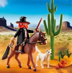 set playmobil 5251 Western sherif a cheval avec son chien blanc