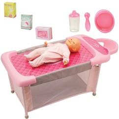 poupée bébé vanille avec table à langer qui se transforme en berceau lit de bébé avec accessoires repas