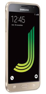 Smartphone petit pris samsung galaxy j3 2016 couleur or doré avec android 5.1 ecran hd