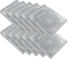 Lot de 10 boîtiers transparents pour clé USB et DVD.