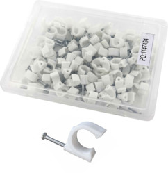 100 clips de fixation ronds 6 mm, coloris blanc