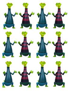 12 figurines La tribu des Monchhichi - Blitz & Glitz