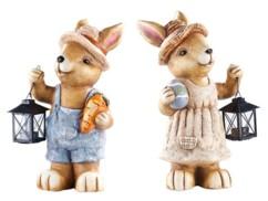 Deux lapins décoratifs en magnésie imperméable avec lanternes.