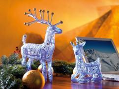 Lot de 2 rennes du Père Noël USB pour décoration lumineuse.