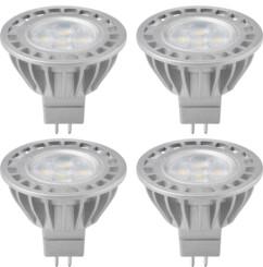 4 ampoules LED GU5.3 de 5W - Blanc chaud