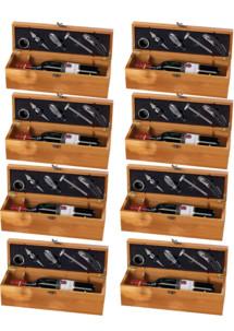 8 coffrets à bouteille en bambou