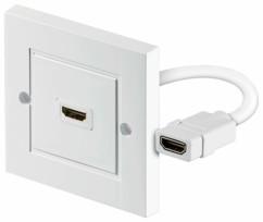 Adaptateur HDMI femelle/femelle Goobay avec prise murale de 50x50 cm.