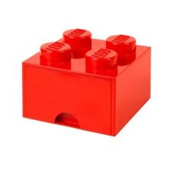 Brique de rangement LEGO rouge.