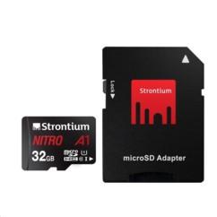 Carte Micro SDXC Strontium Nitro A1 32 Go avec adaptateur SD.