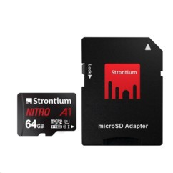 Carte Micro SDXC Strontium Nitro A1 64 Go avec adaptateur SD.