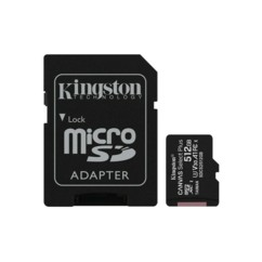Carte microSDXC Kingston 512 Go avec adaptateur SD.