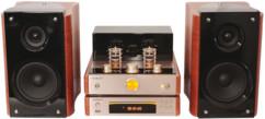 chaine hifi a lampes tubes 6n3 avec radio fm cd usb bluetooth enceintes 40w en bois design vintage classe madison mad-ta20bt