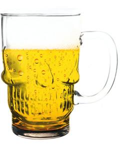 choppe de bière forme tete de mort capacité 70cl gothique rockeur