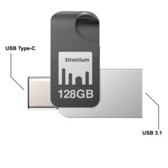 Clé USB à double interface Type-C et Type-A de 128 Go.