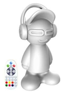 enceinte sans fil bluetooth forme bonhomme avec casque beat boy idance avec eclairage led rvb rgb reglable et telecommande