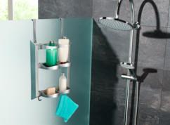 etagère de douche avec porte savon gel douche shampooing avec crochets pour vitre et fixation murale
