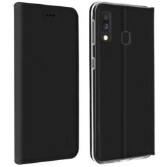 Étui folio en simili cuir noir pour Samsung Galaxy A20e