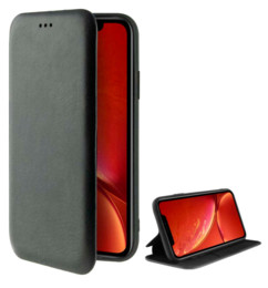 Étui folio noir en cuir pour iPhone 11 Pro Max.