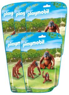 Jouet Playmobil collection Le Zoo - Couple d'Orang-Outans et leur bébé (n° 6648) - x5