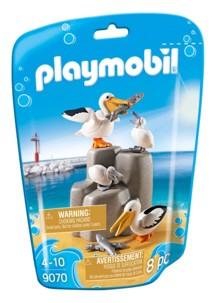 Jouet Playmobil collection Le Zoo - Couple de Pélicans et leurs bébés (n° 9070)