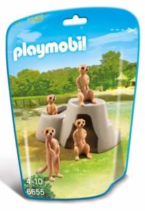 Jouet Playmobil collection Le Zoo - Couple de Suricates et leurs bébés (n° 6655)