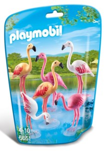 Jouet Playmobil collection Le Zoo - Troupeau de Flamants roses (n° 6651)