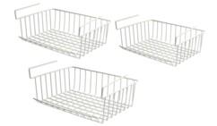 Trois paniers suspendus blancs pour le linge de 40 x 30 cm.