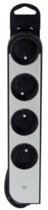 Multiprise 4 prises rotatives avec boîtier aluminium