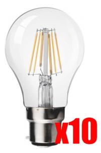 Pack 10 ampoules poire LED à filament A++, B22, 6 W, 660 lm, 300°, Blanc chaud