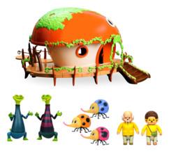 Pack avec 1 maison deluxe et 7 figurines La tribu des Monchhichi