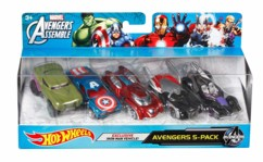 pack de 5 voiturettes hot wheels inspirées marvel avengers iron man hulk captain america thor hawkeye