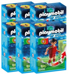 Playmobil Sports & Action : joueur de foot - Portugal - x6