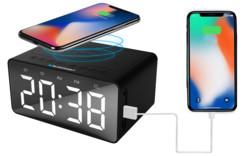 radio reveil digital grand affichage avec chargeur usb et chargeur sans fil induction Qi pour iPhone x