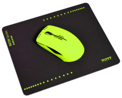 Souris optique sans fil Neon avec tapis - Vert