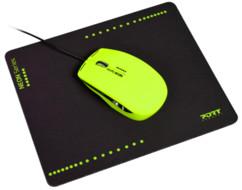 Souris optique USB Neon avec tapis - Jaune fluo