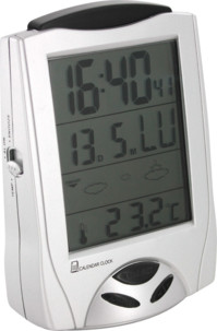 Station météo radiopiloté avec horloge, thermomètre et réveil