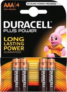Duracell piles LR03 type AAA - Lot de 4
