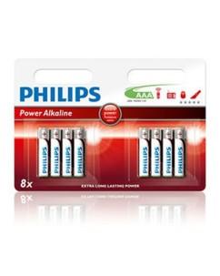 Lot de 8 piles alcalines AAA 1,5 V Philips Power Alcaline