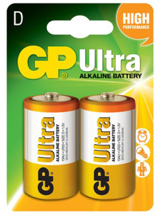 Piles alcaline type D (LR20) GP Ultra - Lot de 2