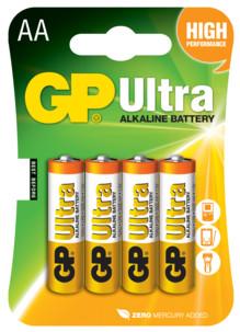 pack de 4 piles gp ultra format aa lr6 alcaline sans mercure