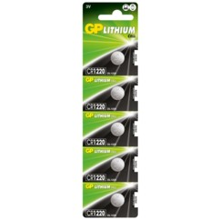 Lot de 5 piles bouton GP Lithium CR1220
