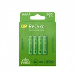 Pack de 4 accus AAA ReCyko+ Pro GP Batteries.