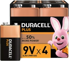 Pack de 4 piles 9 V type 6LR61 Duracell Plus.