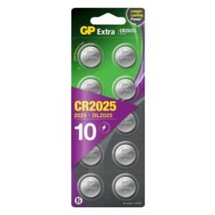 Pack de 10 piles bouton CR2025 GP Batteries.