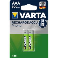Pack de 2 accus AAA rechargeables Varta, avec une capacité de 800 mAh.