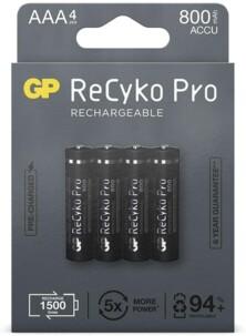Pack de 4 accus AAA 800 mAh GP ReCyko+ Pro.