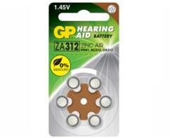 Pack de 6 piles Zinc Air 312-D6 1,45 V pour appareils auditifs.