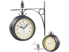 horloge de gare style retro en metal grand cadran avec second cadran fer thermometre et sonnerie 12 heures st leonhard